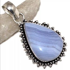 """Jewelry - Blue Lace Silver Overlay Pendant 2"""""""
